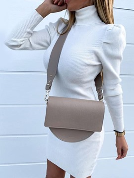 Ericdress Pleated Long Sleeve Turtleneck Plain Bodycon Dress