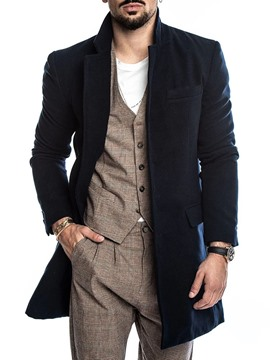 Ericdress Mid-Length Plain Casual Men's Coat