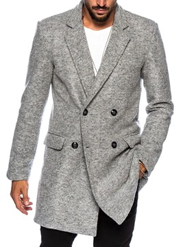 Ericdress Notched Lapel Button Plain Double-Breasted Men's Coat