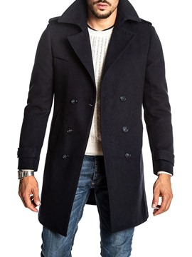 Ericdress Mid-Length Plain Button Double-Breasted Men's Coat