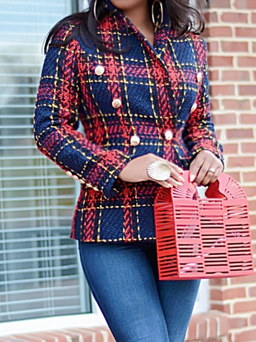 Ericdress Plaid Long Sleeve Double-Breasted Standard Casual Blazer