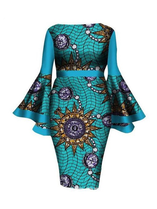 Ericdress Plus Size Long Sleeve Off Shoulder Print Office Lady Flare Sleeve Dress