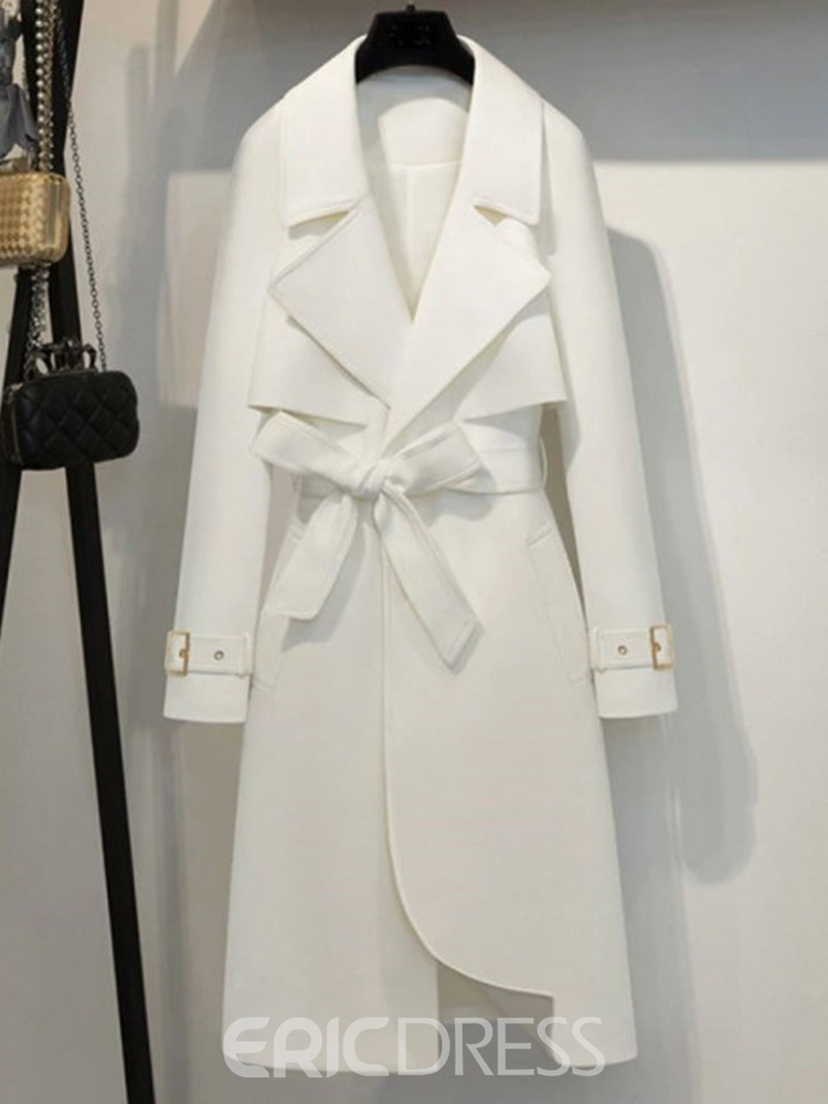 Ericdress Notched Lapel Lace-Up Long Long Sleeve Straight Trench Coat