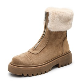 Ericdress PU Front Zipper Round Toe Women's Snow Boots