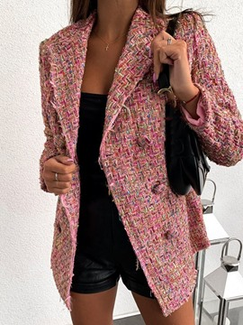 ericdress blazer casual de manga larga con doble botonadura y bloque de color