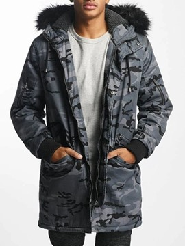 Ericdress Hooded Patchwork Camouflage Casual Men's Down Jacket