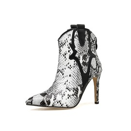 Ericdress Serpentine Color Block Pointed Toe Back Zip Women's Ankle Boots