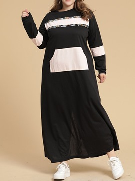 Ericdress Plus Size Long Sleeve Round Neck Patchwork Date Night/Going Out Spring Dress
