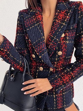 Ericdress Long Sleeve Double-Breasted Plaid Regular Mid-Length Casual Blazer