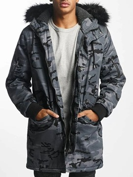 Ericdress Camouflage Zipper Hooded Casual Men's Down Jacket