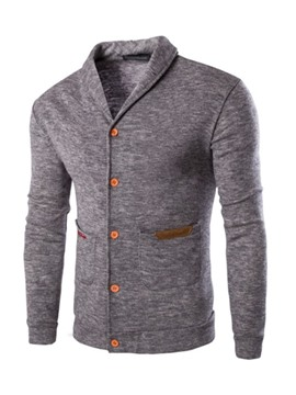 Ericdress Pocket Standard Color Block Single-Breasted Men's Sweater
