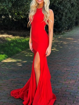 Ericdress Halter Mermaid Red Prom Dress