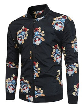 Ericdress Color Block Stand Collar Print Casual Men's Slim Jacket