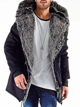 Ericdress Hooded Mid-Length Patchwork Men's A Line Coat