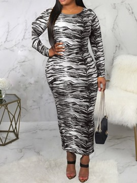 Ericdress Ankle-Length Long Sleeve Print Pencil Pullover Dress