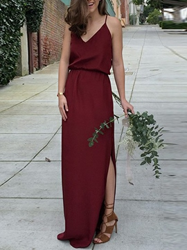 Ericdress Spaghetti Straps Column Split-Front Bridesmaid Dress