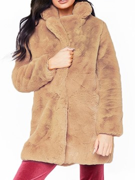 Ericdress Plain Lapel Mid-Length Loose Thick Faux Fur Overcoat