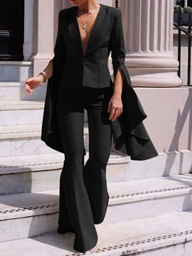 Ericdress Plain Office Lady V-Neck Bellbottoms Two Piece Sets