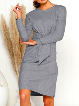 Ericdress Above Knee Nine Points Sleeve Lace-Up Fall Pullover Dress