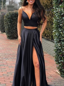Ericdress A-Line Spaghetti Straps Split-Front Prom Dress 2019
