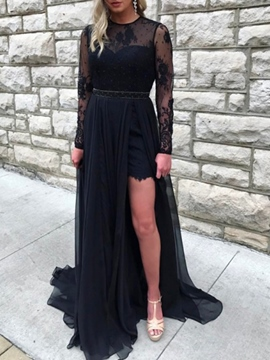 Ericdress Beading Lace Black Prom Dress 2019