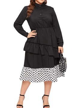Ericdress Plus Size Stand Collar Mid-Calf Pleated Sweet Pullover Dress