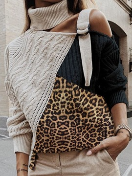 Ericdress Leopard Color Block Regular Standard Fall Sweater