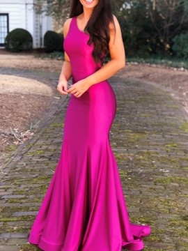 Ericdress Mermaid One Shoulder Fuchsia Evening Dress 2019