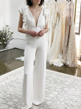 Ericdress Ruffles Cap Sleeves V-Neck Beach Wedding Jumpsuits