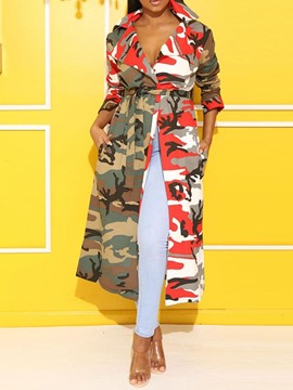 Ericdress Print Notched Lapel Long Regular Nine Points Sleeve Trench Coat