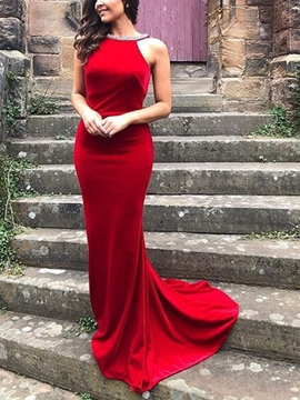 Ericdress Straps Mermaid Beading Backless Prom Dress 2019