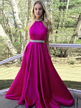 Ericdress A-Line Beading Halter Prom Dress 2019