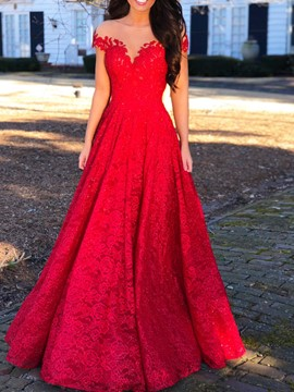 Ericdress Illusion Neck Cap Sleeves Red Lace Evening Dress 2019