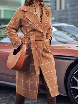 Ericdress Double-Breasted Regular Straight Long Notched Lapel Overcoat