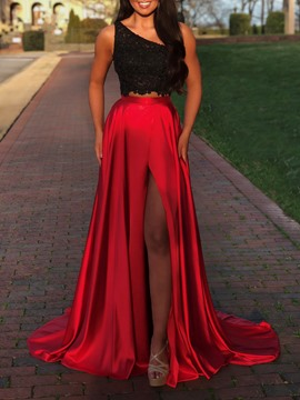 Ericdress One Shoulder 2 Pieces Split-Front Prom Dress