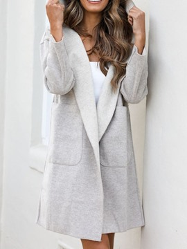 Ericdress Pocket Loose Mid-Length Hooded Overcoat