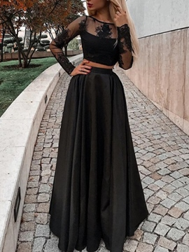 ericdress una línea de manga larga bateau lace prom dress 2019