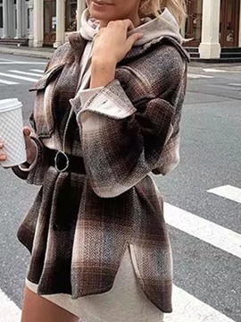 Ericdress Pocket Lapel Plaid Long Sleeve Mid-Length Blouse