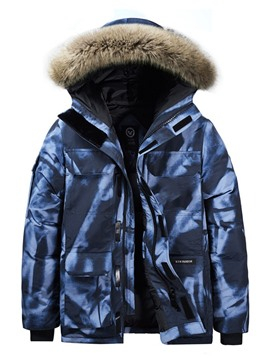 Ericdress Zipper Mid-Length Hooded Casual Men's Down Jacket