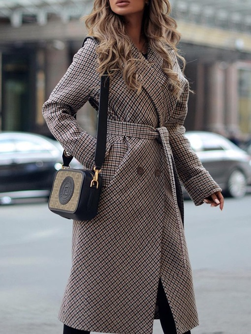 Ericdress Double-Breasted Straight Regular Notched Lapel Long Overcoat