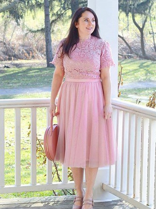Ericdress Jewel Neck Knee-Length Lace Mother of the Bride Dress