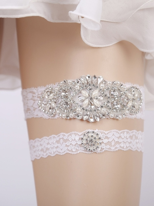 Ericdress Pearls Floral Lace Wedding Garters