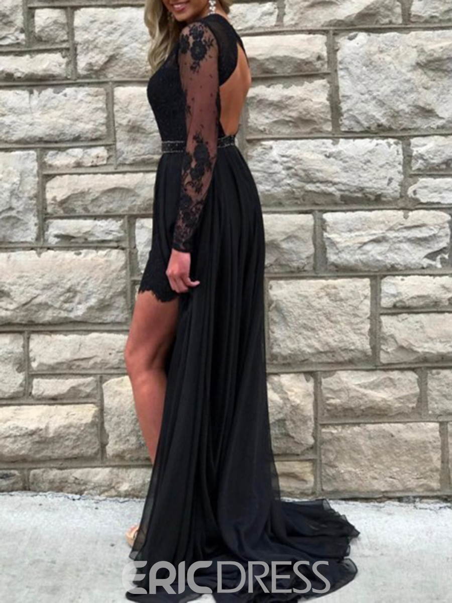 Ericdress Beading Lace Black Prom Dress