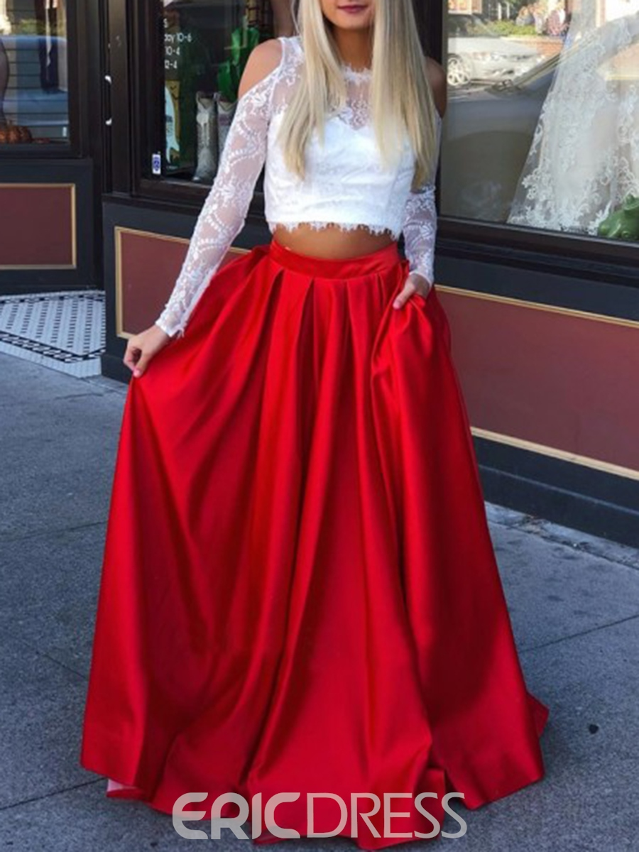 Ericdress Long Sleeves Pockets Red Prom Dress