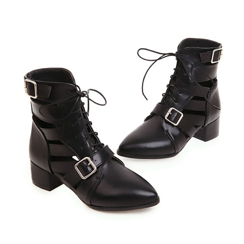 Ericdress Plain Lace-Up Front Pointed Toe Chunky Heel Women's Ankle Boots