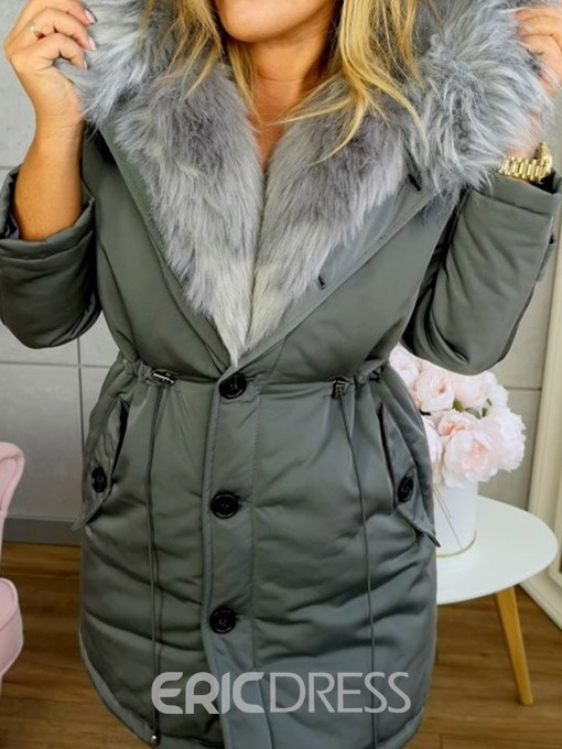 Ericdress Thick Single-Breasted Patchwork Mid-Length Women's Cotton Padded Jacket