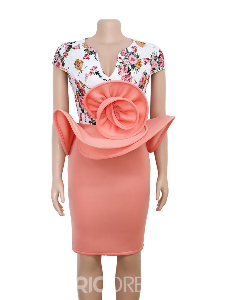 Ericdress Patchwork Cap Sleeve V-Neck Bodycon Party/Cocktail Dress