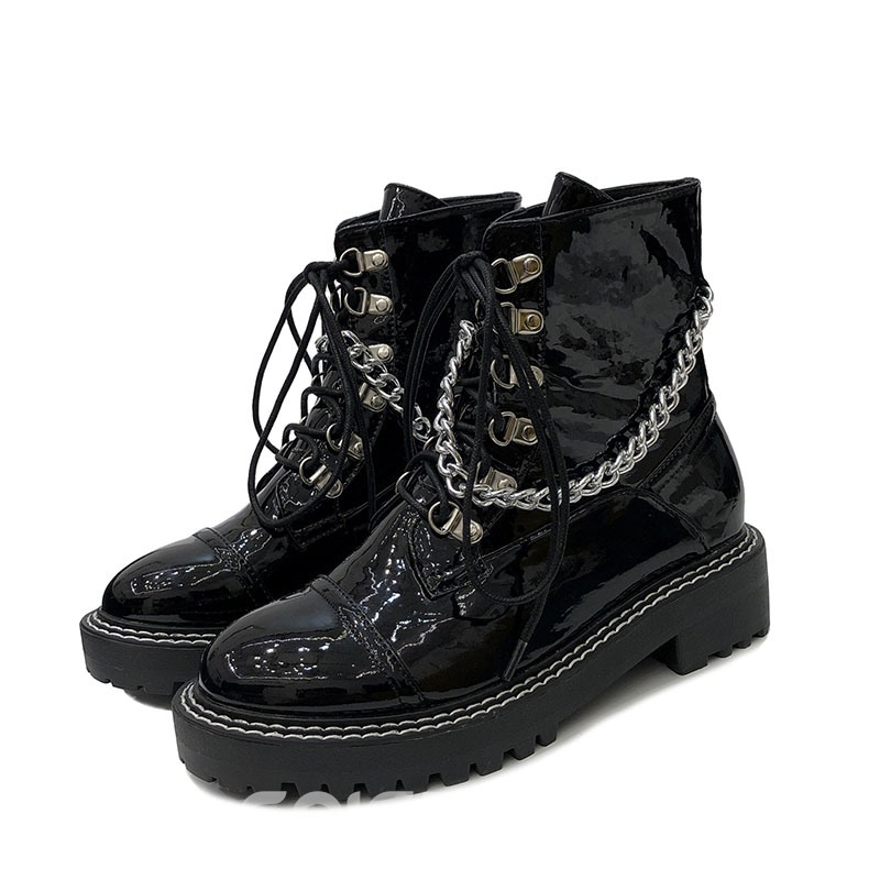 Ericdress Lace-Up Front Chain Round Toe Women's Martin Boots