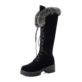 Ericdress Faux Fur Round Toe Side Zipper Women's Snow Boots