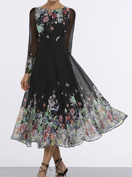 Ericdress Mid-Calf See-Through Nine Points Sleeve Party/Cocktail Floral Dress